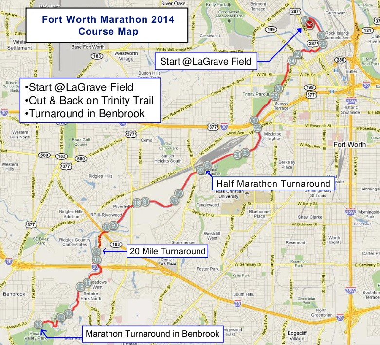 Fort Worth Marathon 2013 Course Map
